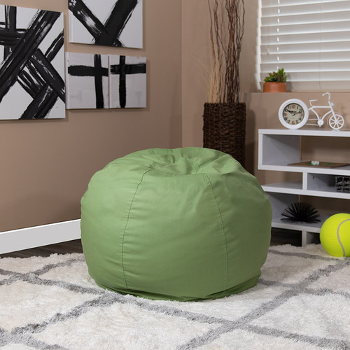 Small Solid Green Bean Bag Chair for Kids & Teens
