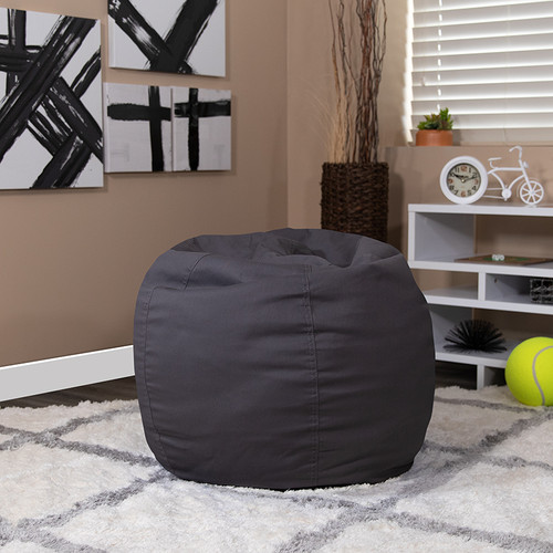 Small Solid Gray Bean Bag Chair for Kids & Teens