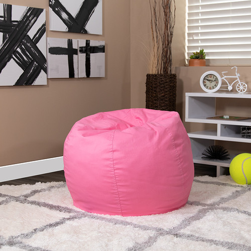 Small Solid Light Pink Bean Bag Chair for Kids & Teens