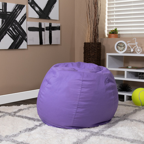 Small Solid Purple Bean Bag Chair for Kids & Teens