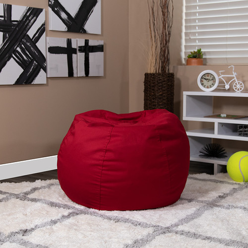 Small Solid Red Bean Bag Chair for Kids & Teens