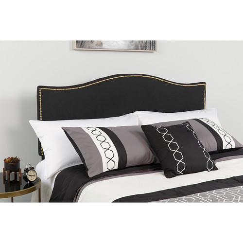 Lexington Upholstered Twin Size Headboard w/Accent Nail Trim in Black Fabric