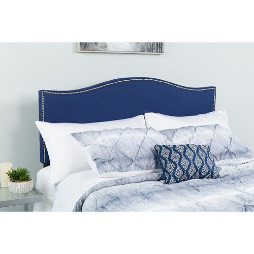 Lexington Upholstered Twin Size Headboard w/Accent Nail Trim in Navy Fabric