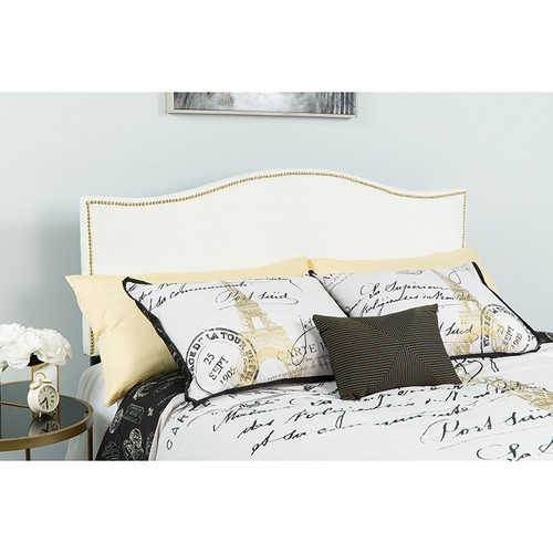 Lexington Upholstered Twin Size Headboard w/Accent Nail Trim in White Fabric