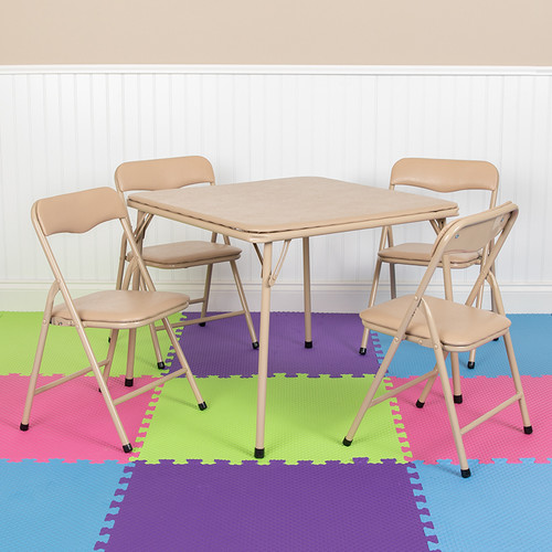 Kids Tan 5 Piece Folding Table & Chair Set