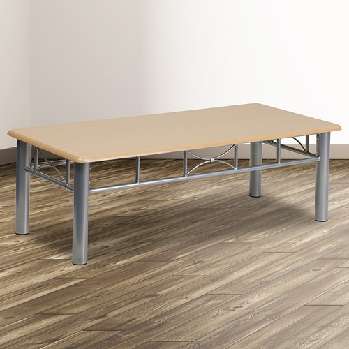Natural Laminate Coffee Table w/Silver Steel Frame