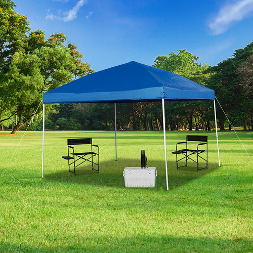 10'x10' Blue Outdoor Pop Up Event Slanted Leg Canopy Tent w/Carry Bag