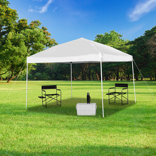 10'x10' White Outdoor Pop Up Event Slanted Leg Canopy Tent w/Carry Bag