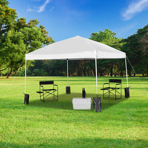 10'x10' White Pop Up Event Straight Leg Canopy Tent w/Sandbags & Wheeled Case