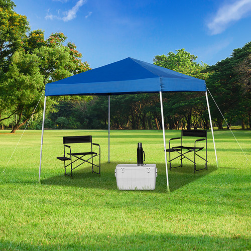 8'x8' Blue Outdoor Pop Up Event Slanted Leg Canopy Tent w/Carry Bag