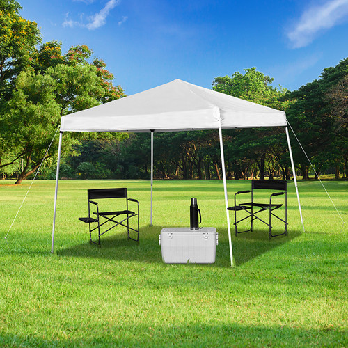 8'x8' White Outdoor Pop Up Event Slanted Leg Canopy Tent w/Carry Bag