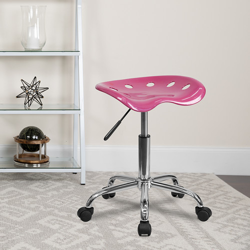 Vibrant Pink Tractor Seat & Chrome Stool
