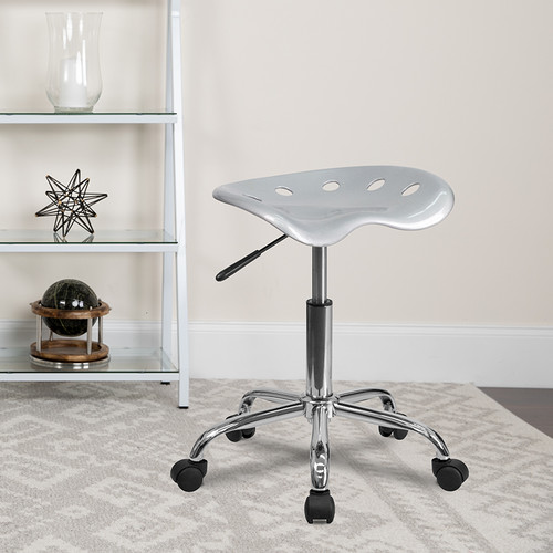 Vibrant Silver Tractor Seat & Chrome Stool