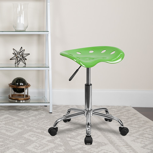 Vibrant Spicy Lime Tractor Seat & Chrome Stool