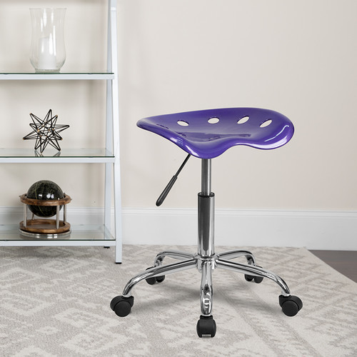 Vibrant Violet Tractor Seat & Chrome Stool