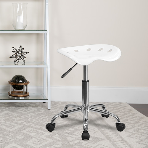 Vibrant White Tractor Seat & Chrome Stool