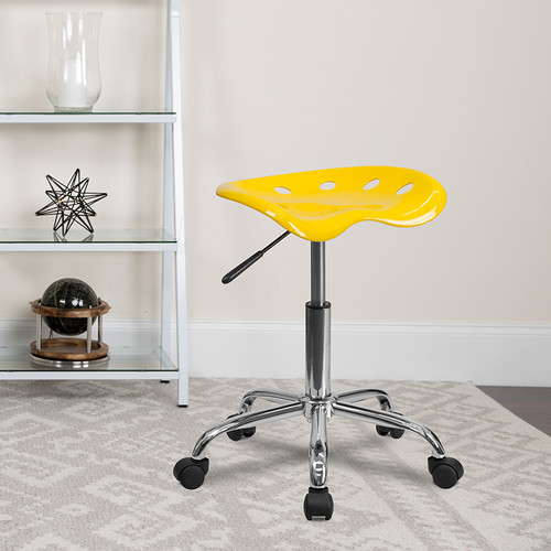 Vibrant Yellow Tractor Seat & Chrome Stool