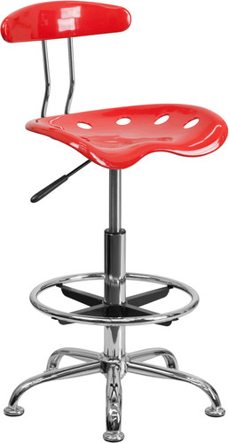 Vibrant Cherry Tomato & Chrome Drafting Stool w/Tractor Seat