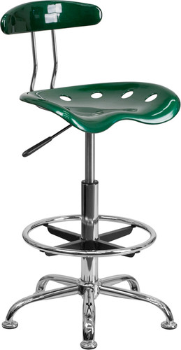 Vibrant Green & Chrome Drafting Stool w/Tractor Seat