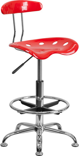 Vibrant Red & Chrome Drafting Stool w/Tractor Seat