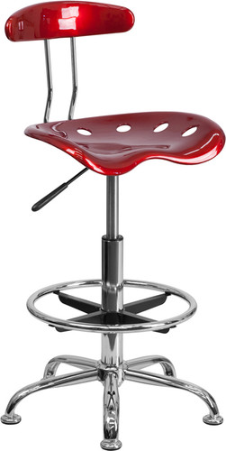 Vibrant Wine Red & Chrome Drafting Stool w/Tractor Seat
