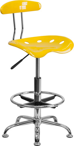 Vibrant Yellow & Chrome Drafting Stool w/Tractor Seat