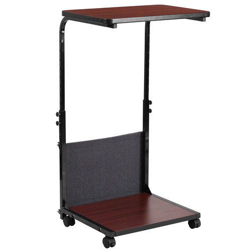Mobile Sit-Down, Stand-Up Mahogany Computer Ergonomic Desk w/Removable Pouch (Adjustable Range 27'' - 46.5'')