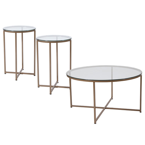 Greenwich Collection 3 Piece Coffee & End Table Set w/Glass Tops & Matte Gold Frames