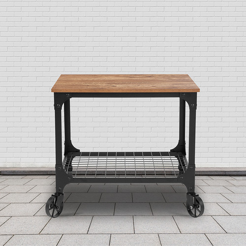 Grant Park Rustic Wood Grain & Industrial Iron Kitchen Serving & Bar Cart