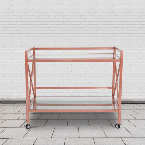 Glenwood Park Glass Kitchen Serving & Bar Cart w/Rose Gold Frame