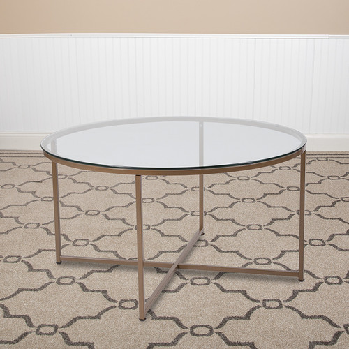 Greenwich Collection Glass Coffee Table w/Matte Gold Frame