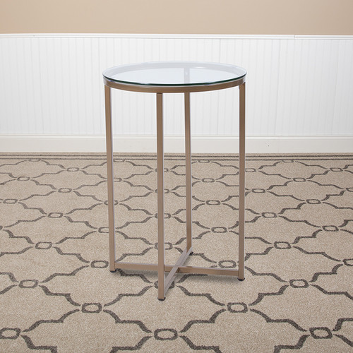 Greenwich Collection Glass End Table w/Matte Gold Frame