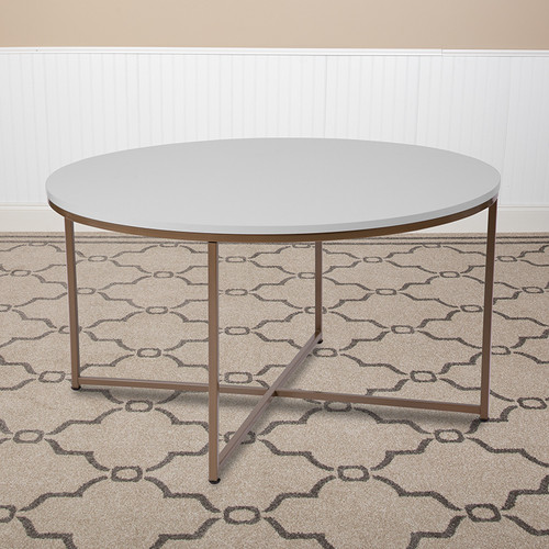Hampstead Collection White Coffee Table w/Matte Gold Frame