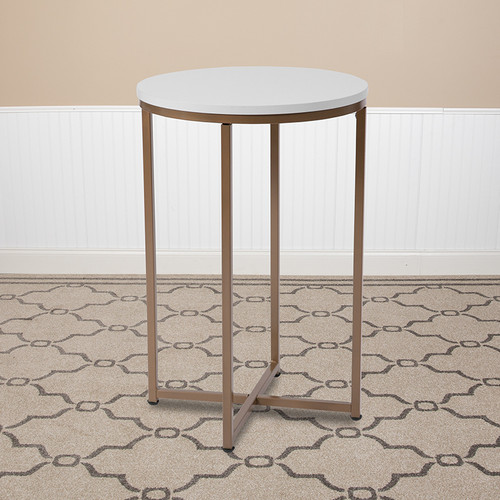 Hampstead Collection White End Table w/Matte Gold Frame