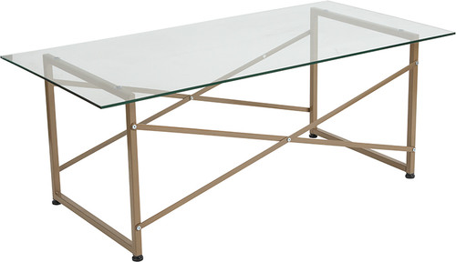Mar Vista Collection Glass Coffee Table w/Matte Gold Frame
