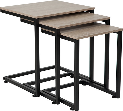 Midtown Collection Sonoma Oak Wood Grain Finish Nesting Tables w/Black Metal Cantilever Base
