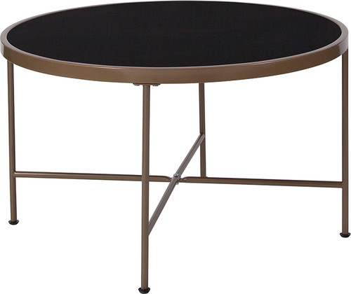 Chelsea Collection Black Glass Coffee Table w/Matte Gold Frame