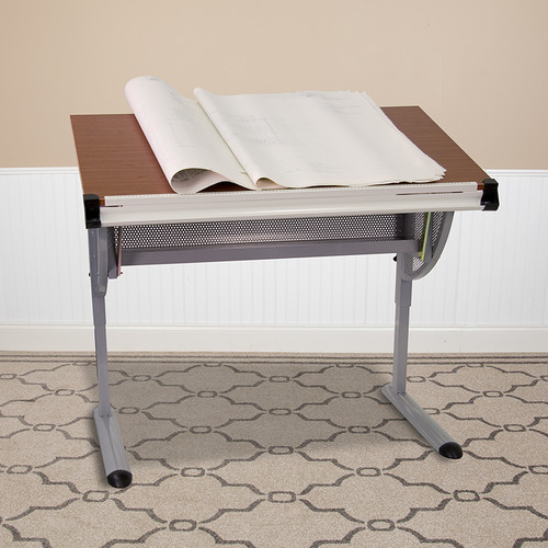 Adjustable Drawing & Drafting Table w/Pewter Frame