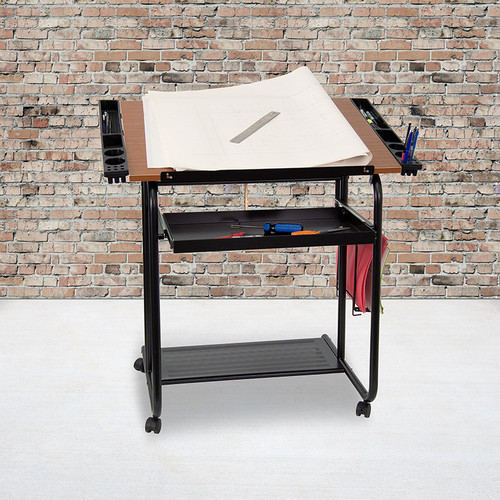 Adjustable Drawing & Drafting Table w/Black Frame & Dual Wheel Casters