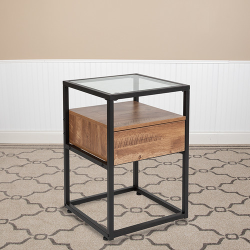 Cumberland Collection Glass End Table w/Drawer & Shelf in Rustic Wood Grain Finish