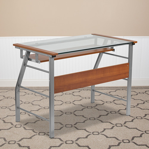 Glass Computer Desk w/Pull-Out Keyboard Tray & Bowed Front Frame