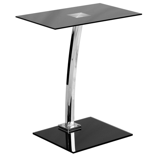 Laptop Computer Desk w/Silk Black Tempered Glass Top