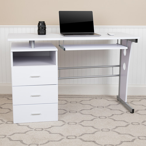White Desk w/Three Drawer Pedestal & Pull-Out Keyboard Tray