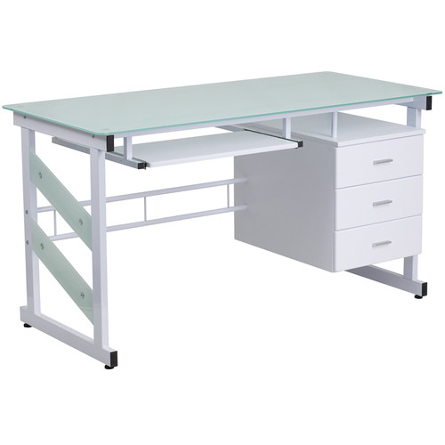 White Computer Desk w/Frosted Glass Top & Three Drawer Pedestal