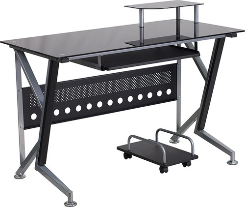 Black Glass Computer Desk w/Pull-Out Keyboard Tray & CPU Cart