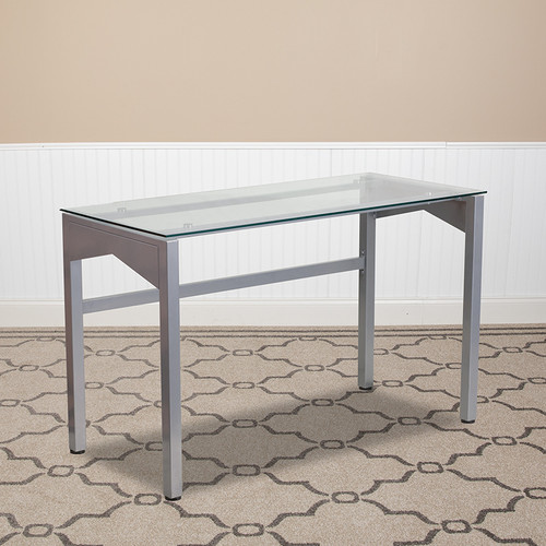 Contemporary Clear Tempered Glass Desk w/Geometric Sides