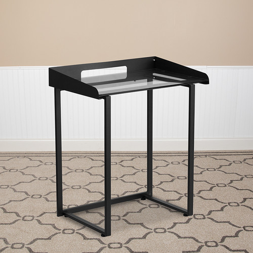 Contemporary Clear Tempered Glass Desk w/Raised Cable Management Border & Black Metal Frame