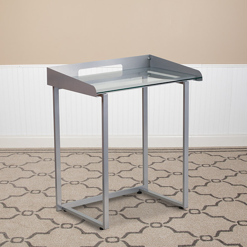 Contemporary Clear Tempered Glass Desk w/Raised Cable Management Border & Silver Metal Frame