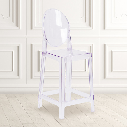 Ghost Counter Stool w/Oval Back in Transparent Crystal