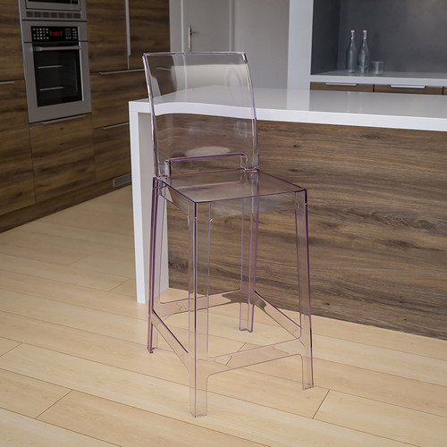 Ghost Counter Stool w/Square Back in Transparent Crystal